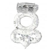 Прозрачное эрекционное кольцо с вибратором  и подхватом, прозрачный