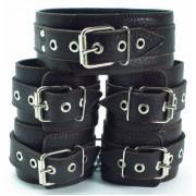 Набор коричневых фиксаторов: наручники с мехом, наножники и ошейник, коричневый