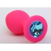 Розовая силиконовая анальная пробка с голубым стразом - 9,5 см., голубой