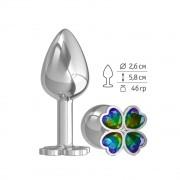 Серебристая анальная втулка с клевером из радужных кристаллов - 7 см., разноцветный