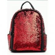 Женский рюкзак с блестками v2 (красный с серебристым)