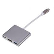 Кабель-конвертер Type-C-USB 3,0 3 в 1 (Темно-серый)