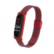 Металлический ремешок для Xiaomi Mi Band 3/4 (Красный)