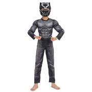 """Детский маскарадный костюм супергероя с мускулами """"Черная пантера"""" размер S"""