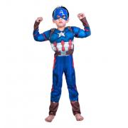 """Детский маскарадный костюм супергероя с мускулами """"Капитан Америка"""" размер M"""