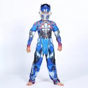 """Детский маскарадный костюм супергероя с мускулами """"Optimus Prime"""" размер L (Синий)"""