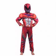 """Детский маскарадный костюм супергероя с мускулами """"Optimus Prime"""" размер L (Красный)"""