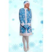 Карнавальный костюм Снегурочка шуба, шапка, рукавички (Голубой)