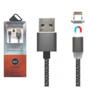 Магнитный кабель 3 в 1 Type-c Lightning MicroUSB X-Cable Metal magnetic cable 360 (Черный)