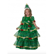 Карнавальный костюм Ёлочка-Царица размер 34 (Золотисто-зеленый)