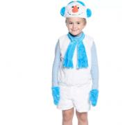 Карнавальный костюм Снеговик жилет, маска и шорты (Белый)