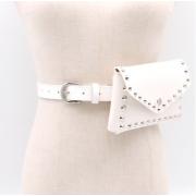 Кожаная поясная сумка с заклепками (Белая)