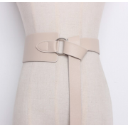 Кожаный ремень с металлическим кольцом (Белый)