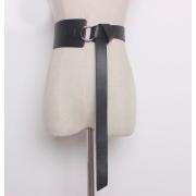 Кожаный ремень с металлическим кольцом (Черный)
