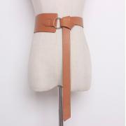 Кожаный ремень с металлическим кольцом (Телесный)