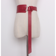 Кожаный ремень с металлическим кольцом (Красный)
