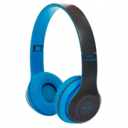 Беспроводные Наушники P-47 Bluetooth + MicroSD + FM Радио (Синие)