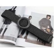 Плетеный соломенный пояс с деревянным кольцом (Черный)