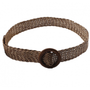 Плетеный пояс с деревянным кольцом (Коричневый)
