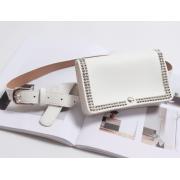 Поясная сумка с заклепками (Белая)