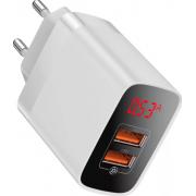 Сетевое зарядное устройство Baseus Mirror Lake Dual QC Digital Display quick Charger A+A EU (Белый)