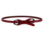Тонкий кожаный ремень бантиком (Бордовый)