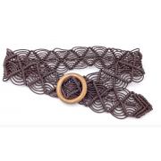 Вязаный пояс из вощеной веревки (Темно коричневый)