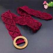 Вязаный пояс из вощеной веревки (Красный)