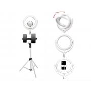 Кольцевая лампа на штативе с ушками с тремя держателями для смартфона 26 см