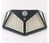 Широкоугольная настенная солнечная лампа 100leds 700LM с датчиком движения (Черная)