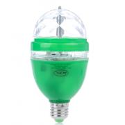 Вращающаяся ротационная диско-лампа LED c переходником и с цветным цокольем (Зеленая)