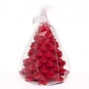 Новогодняя свеча Елочка на декоративной подставке (Красная)