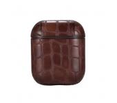 Винтажный кожаный чехол для наушников AirPods (Темно-коричневый)