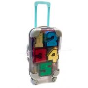 Цифры трансформеры в чемодане на колесах 10 цифр (Голубой)