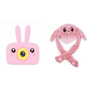 Набор Детский цифровой фотоаппарат камера в форме зайчика (розовый) в комплекте с Мультяшной шапкой Движущиеся уши (розовой)