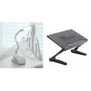 Набор Регулируемый стол для ноутбука AirSpace с охлаждающим вентилятором для ноутбука (черный) в комплекте с Лампой светильником-прищепкой Bo Gou (белый)