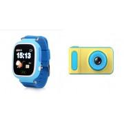 Набор Умные детские часы с телефоном и GPS трекером Smart Watch Q90 (синие) в комплекте с Детским цифровым мини фотоаппаратом от 3 лет Photo Camera Kids Mini Digital (голубым)