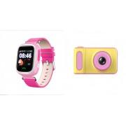 Набор Умные детские часы с телефоном и GPS трекером Smart Watch Q90 (розовые) в комплекте с Детским цифровым мини фотоаппаратом от 3 лет Photo Camera Kids Mini Digital (розовыми)