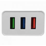 Универсальное сетевое зарядное устройство на три USB порта (Белый)