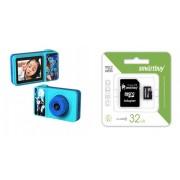 Набор Детский цифровой фотоаппарат Q1 с SIM-картой и сенсорный экран (голубой) в комплекте с Картой памяти MicroSD 32 Gb Class 10 Ultra