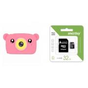 Набор Детский цифровой фотоаппарат камера в форме медведя (розовый) в комплекте с Картой памяти MicroSD 32 Gb Class 10 Ultra