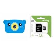 Набор Детский цифровой фотоаппарат камера в форме медведя (синий) в комплекте с Картой памяти MicroSD 32 Gb Class 10 Ultra