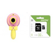 Набор Детский фотоаппарат Волшебная палочка X3 (розовый) в комплекте с Картой памяти SmartBuy MicroSD 32 Gb Class 10 Ultra