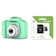 Набор Детский фотоаппарат цифровой X2 (зеленый) в комплекте с Картой памяти MicroSD 32 Gb Class 10 Ultra