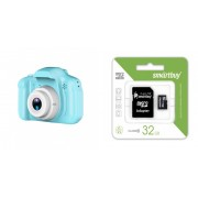 Набор Детский фотоаппарат X2 цифровой (голубой) в комплекте с Картой памяти MicroSD 32 Gb Class 10 Ultra