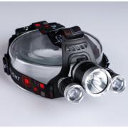 Фонарь налобный аккумуляторный LED HEADLIGHT с 3-ным LED визором (Черный)