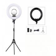Кольцевая светодиодная лампа Lemon Tree 18 дюймов HQ-18 с держателем для смартфона 45 см со штативом 2.1 (Белый с черным)