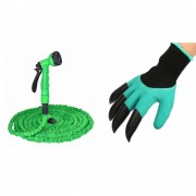Набор Поливочный садовый растягивающийся шланг с насадкой-распылителем Magic hose 30 метров (Зеленый) в комплекте с Многофункциональными садовыми перчатками Garden Genie Glives с когтями