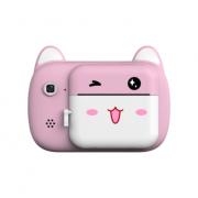 Детская фотокамера с мгновенной печатью снимков Котик (Розовая)