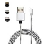 Магнитный кабель 3 в 1 Type-c Lightning MicroUSB X-Cable Metal magnetic cable 360 (Серебряный)